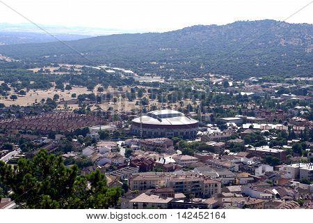 Town of Moralzarzal perspective, Madrid. Spain. Bullring deck view.