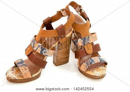 Pair of womens open-toe sandals isolated on white.