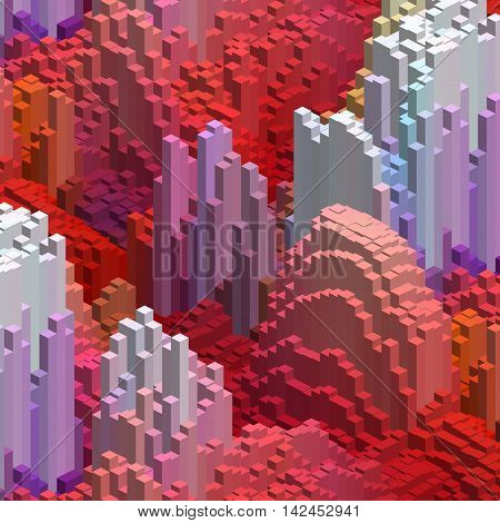 Abstract Background With 3D Cubes. Vector Cube Box For Business Concepts. Red, Pink Colors.