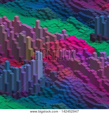Abstract Colorful Vector Cube. Vector Illustration. Blue, Pink, Green Colors.