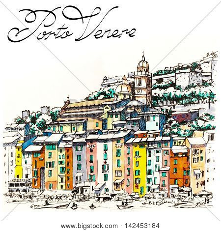 Colorful picturesque harbour of Porto Venere, San Lorenzo church and Doria Castle on the background, La Spezia, Liguria, Italy. Picture made markers