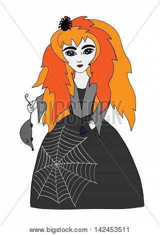 Beautiful girl on Halloween with a spider in orange hair and rat in a hand with a spider web on dress. Art element for adult coloring book page design.
