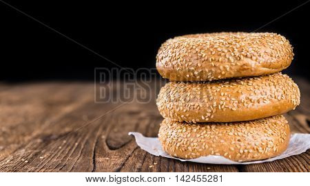 Sesame Bagels On Wooden Background