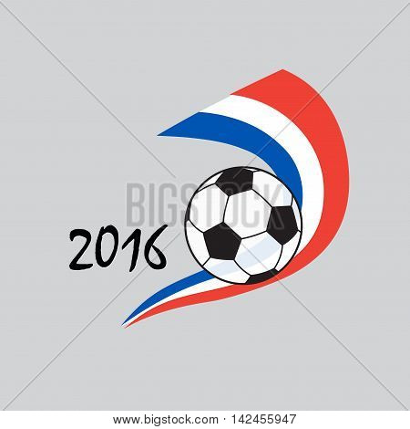 Football background with soccer ball and France flag. Abstract European championship soccer vector illustration. Soccer ball banner, card. For Art, Print, Web design.