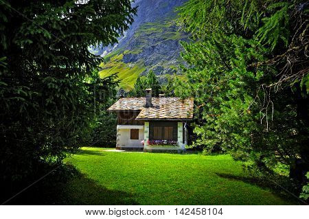 little house in alpine resort in Rhemes Notre Dame, Italy