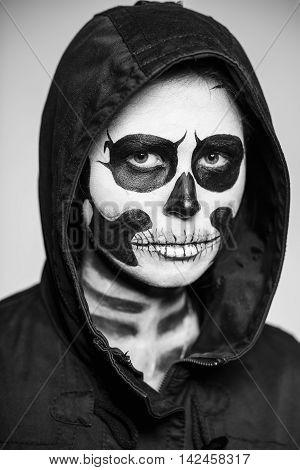 Woman Painted Like A Skeleton