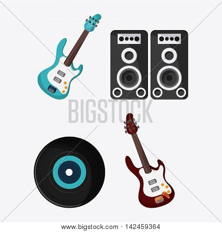 electric guitar speaker vinyl music sound festival icon. Isolated and Colorfull illustration. Vector graphic