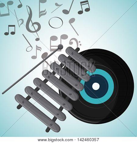 vinyl music note sound media festival icon. Colorfull illustration. Vector graphic