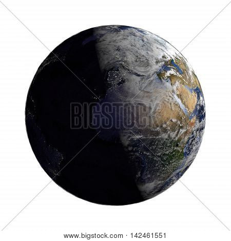 Planet Earth With Night And Day And Clouds White