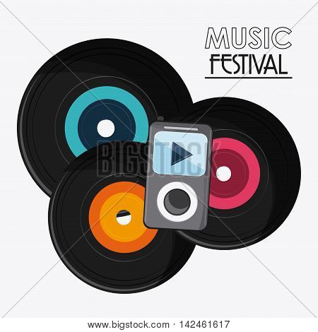 vinyl mp3 music sound media festival icon. Flat and Colorfull illustration. Vector graphic