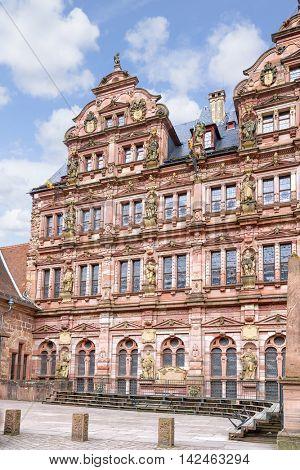 HEIDELBERG, GERMANY - MAY 28, 2015: Ruin of Heidelberg castle in Heidelberg, Germany.
