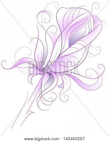 Purple rose - artistic vector illustration