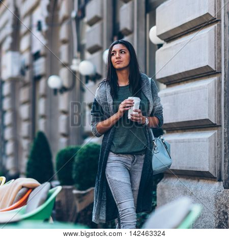 Woman With Take-away Coffee