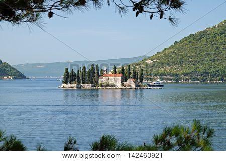 Island of Saint George off coast of Perast in Bay of Kotor Montenegro