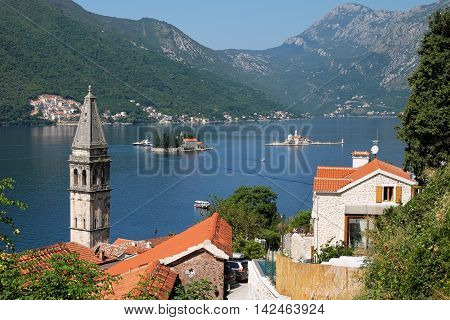 Islands of Saint George and Our Lady of the Rocks off coast of Perast in Bay of Kotor Montenegro