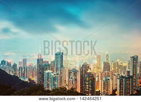 Hong Kong skyline. View from Victoria Peak.
