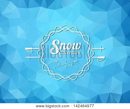Vintage skiing resort or mountain patrol label, emblem or logo with ski poles on blue ice background