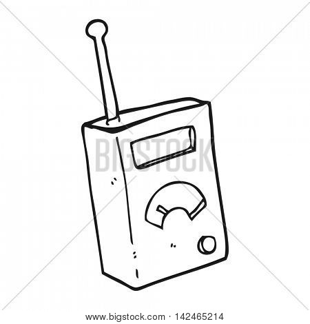 freehand drawn black and white cartoon scientific device