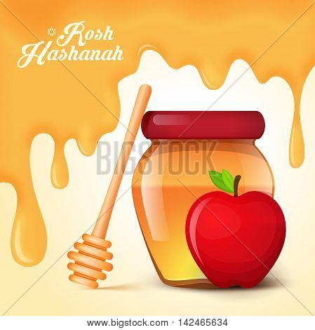Rosh Hashanah holiday. Background with honey and apple.