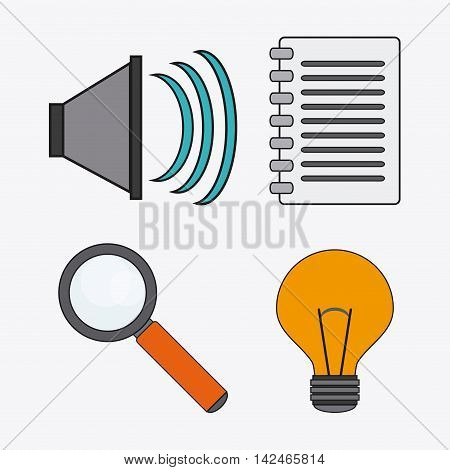 bulb lupe document sound connect communications social network icon. colorful illustration