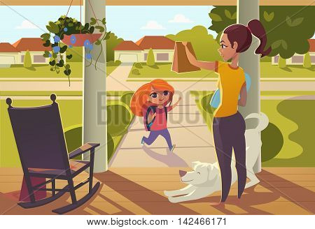 Mother seeing daughter off to school standing on the porch of the house, sends her a snack. Bright morning street with sunny , rocking chair, and cheerful white dog
