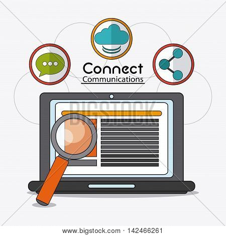laptop lupe connect communications social network icon. colorful illustration
