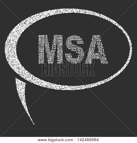 Measurement system analysis typography speech bubble. Dark background with main title MSA filled by other words related with measurement system analysis method. Vector illustration