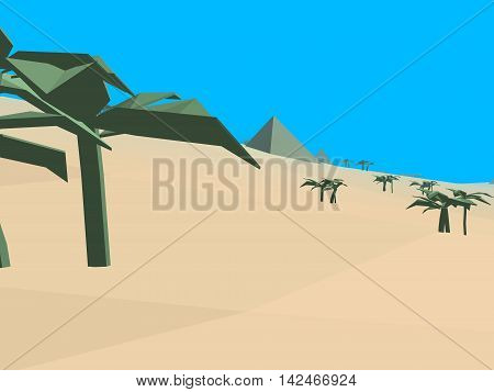 Low poly retro style desert, 3D illustration