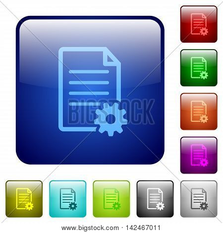 Set of document setup color glass rounded square buttons