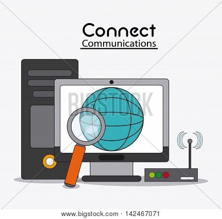 computer global lupe wifi connect communications social network icon. colorful illustration