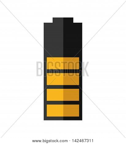 yellow battery power energy icon. Isolated and flat vecctor illustration