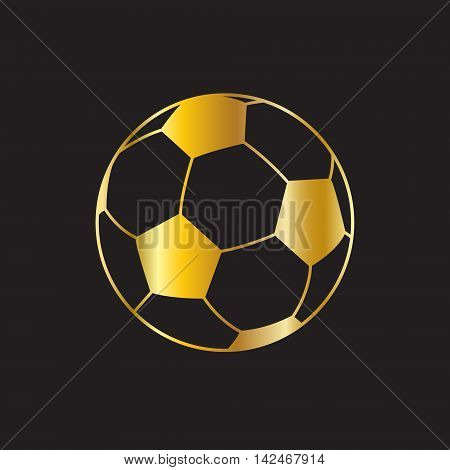 Gold soccer ball on black background. Gold symbol icon. Sport winner background. Award soccer ball label. Winner  Vector illustration.