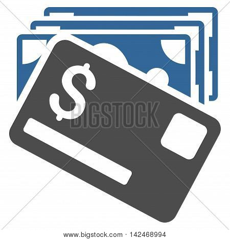 Banknotes and Card icon. Vector style is bicolor flat iconic symbol with rounded angles, cobalt and gray colors, white background.