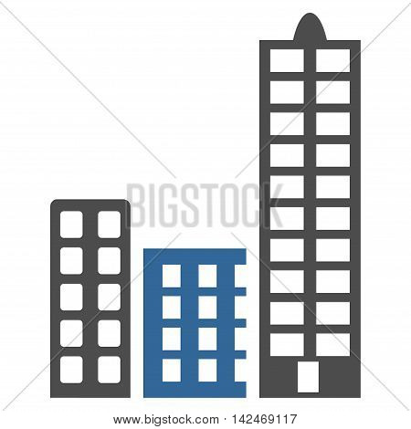 City icon. Vector style is bicolor flat iconic symbol with rounded angles, cobalt and gray colors, white background.