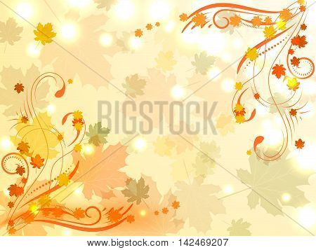 Abstract Autumn Background With Maple Leaves And Floral Designs