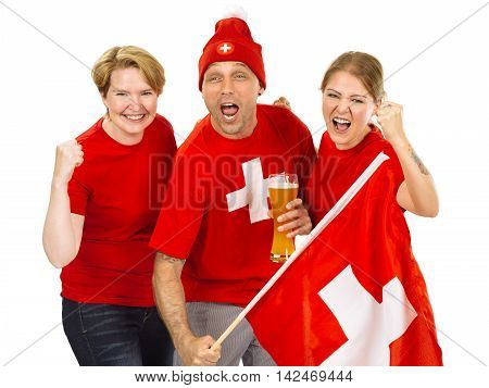 Photo of three Swiss sports fans cheering for their team.