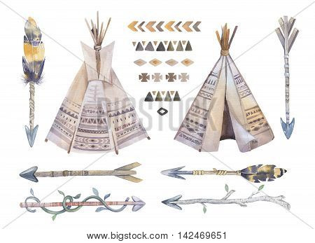 Watercolor teepee, arrows, fearhers and tomahawk. Boho america indians tribal style travel tent decoration. Tipi isolated illustration white backgraund. children design. indian