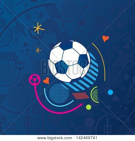 Soccer ball on blue background. Abstract European Championship Soccer vector illustration. Football pattern.