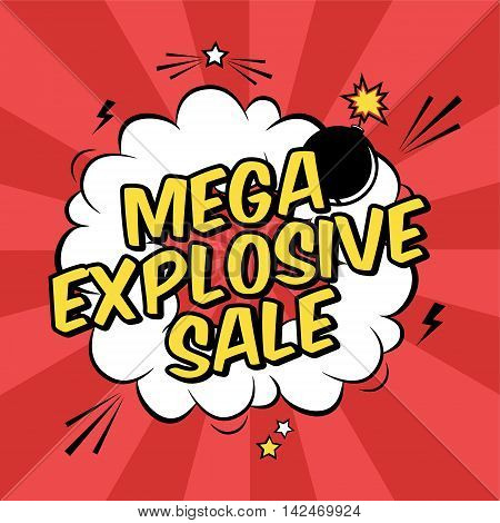 Vector Colorful Pop Art Illustration With Mega Explosive Sale Discount Promotion. Decorative Templat