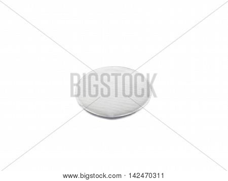 One round cosmetic cotton pad isolated on white
