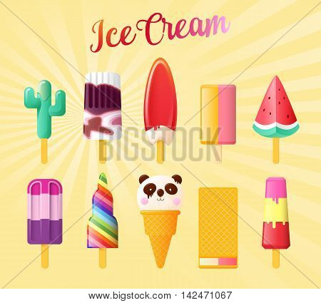 Set of Cute Unusual Ice Cream. Funny Summer vector illustration isolated on vintage background.