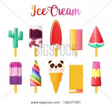 Set of Cute Unusual Ice Cream. Funny Summer vector illustration isolated on white background.