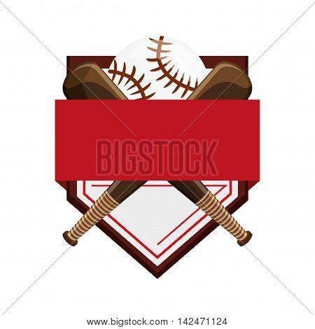 flat design baseball emblem icon vector illustration
