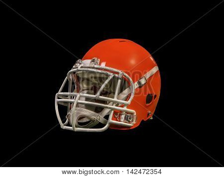 American football helmet isolated on black background with detailed clipping path.
