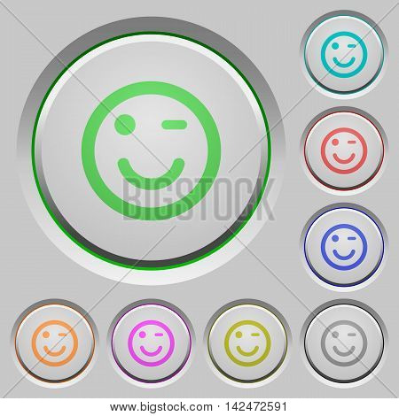 Set of color Winking emoticon sunk push buttons.