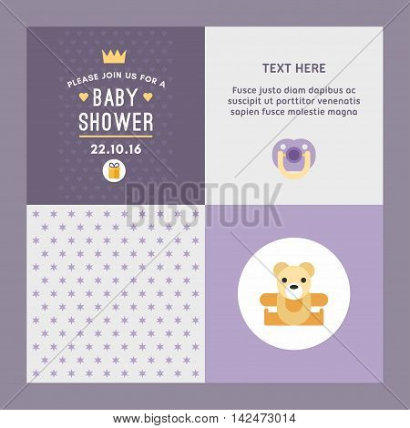 A Set Of Four Illustrations, Backgrounds For Baby Shower Invitations And Post Cards. Colored In Viol