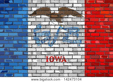 Flag of Iowa on a brick wall - Illustration,  The flag of the state of Iowa on brick textured background,  Iowa Flag painted on brick wall, Iowa Flag in brick style vector