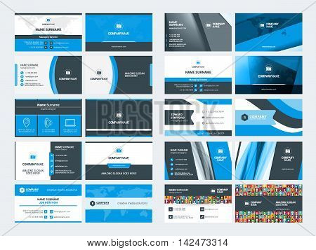 Set Of Modern Creative Business Card Templates. Blue And Black Colors. Flat Style Vector Illustratio