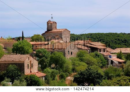 View of the hilltop village of Provence France