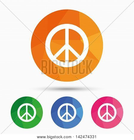 Peace sign icon. Hope symbol. Antiwar sign. Triangular low poly button with flat icon. Vector
